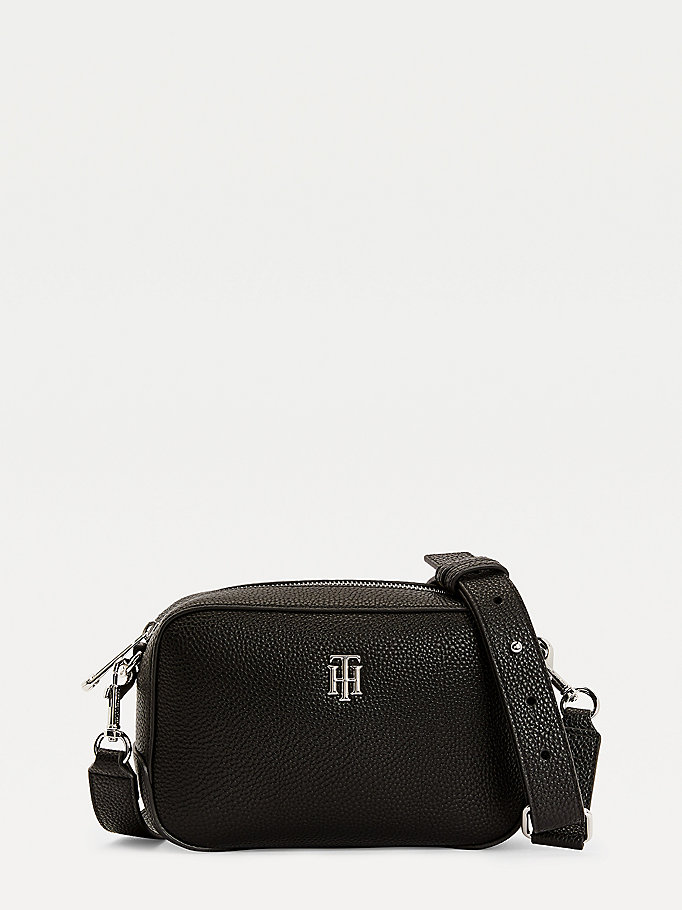 black th essence monogram crossover bag for women tommy hilfiger