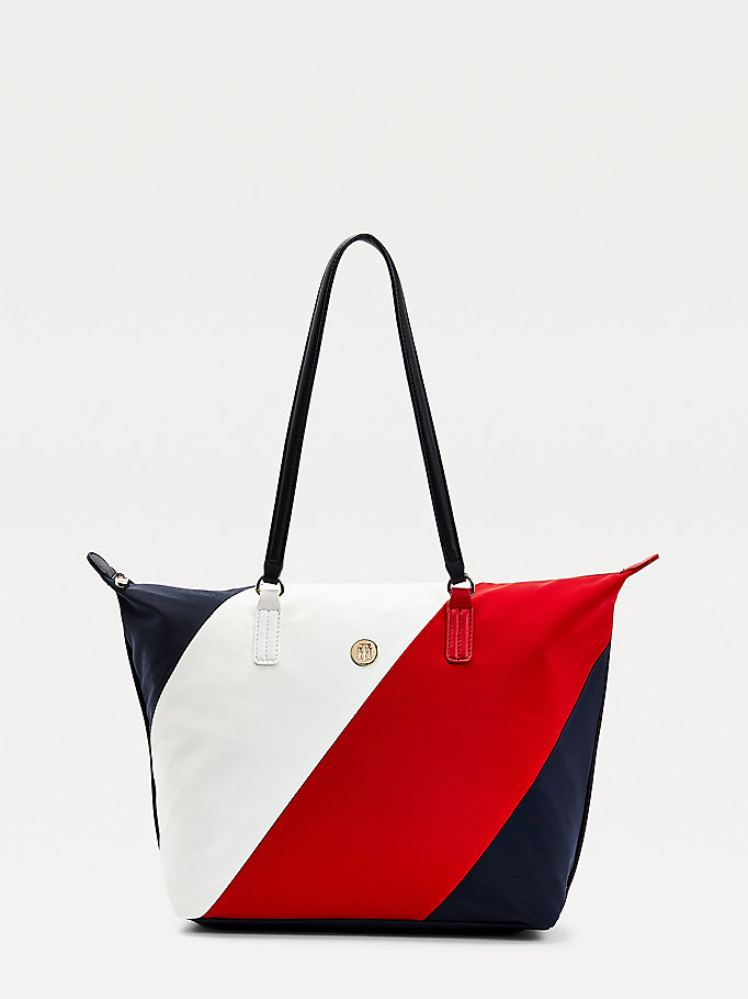 blue signature detail monogram plaque tote bag for women tommy hilfiger