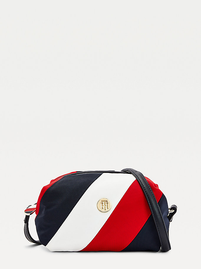 blue monogram plaque soft crossover bag for women tommy hilfiger