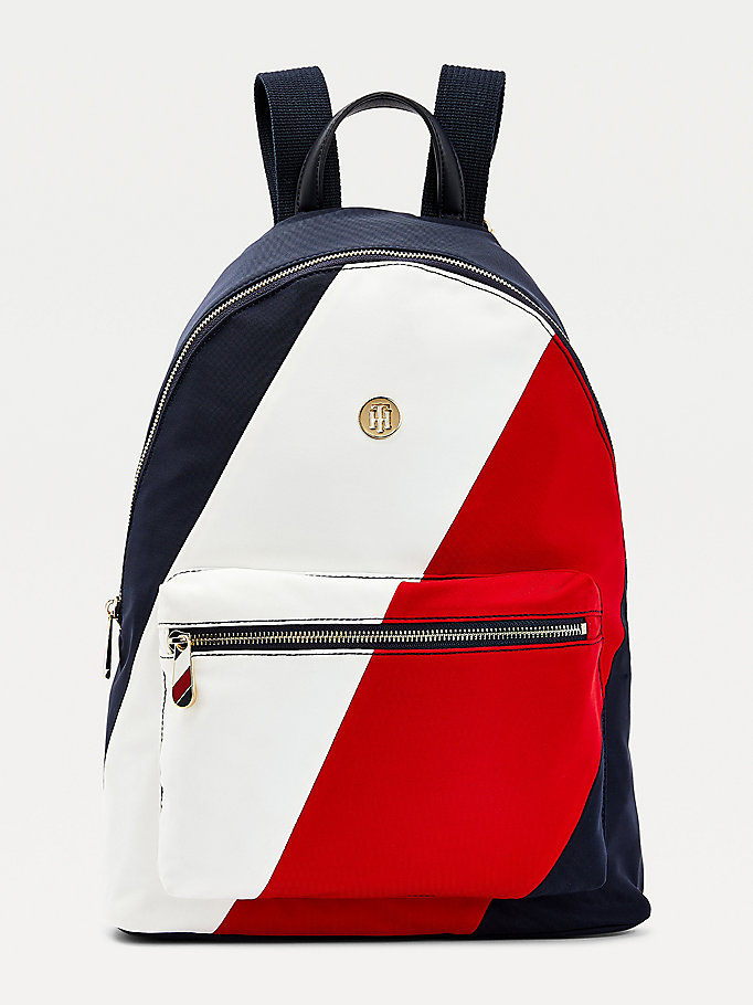 blue signature detail monogram plaque backpack for women tommy hilfiger