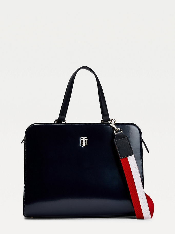 blue th staple signature detail satchel for women tommy hilfiger