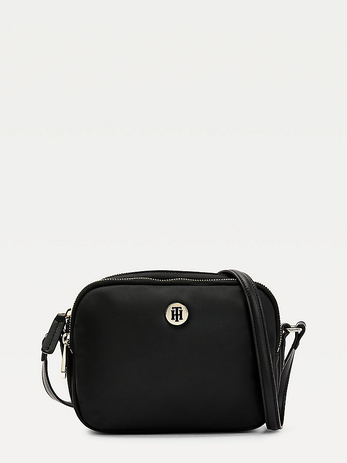 black monogram plaque crossover bag for women tommy hilfiger