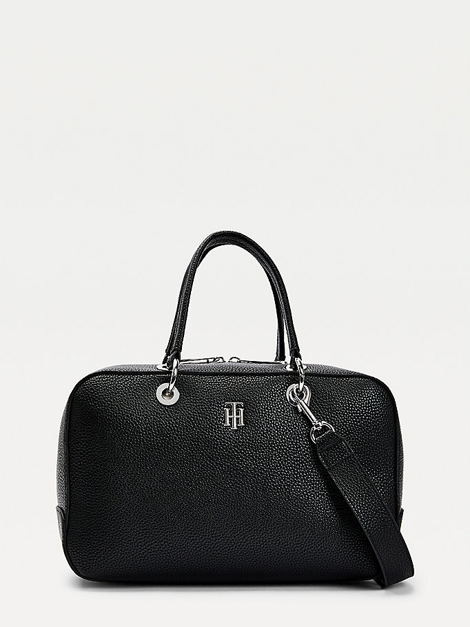 black th essence pebble grain duffle bag for women tommy hilfiger