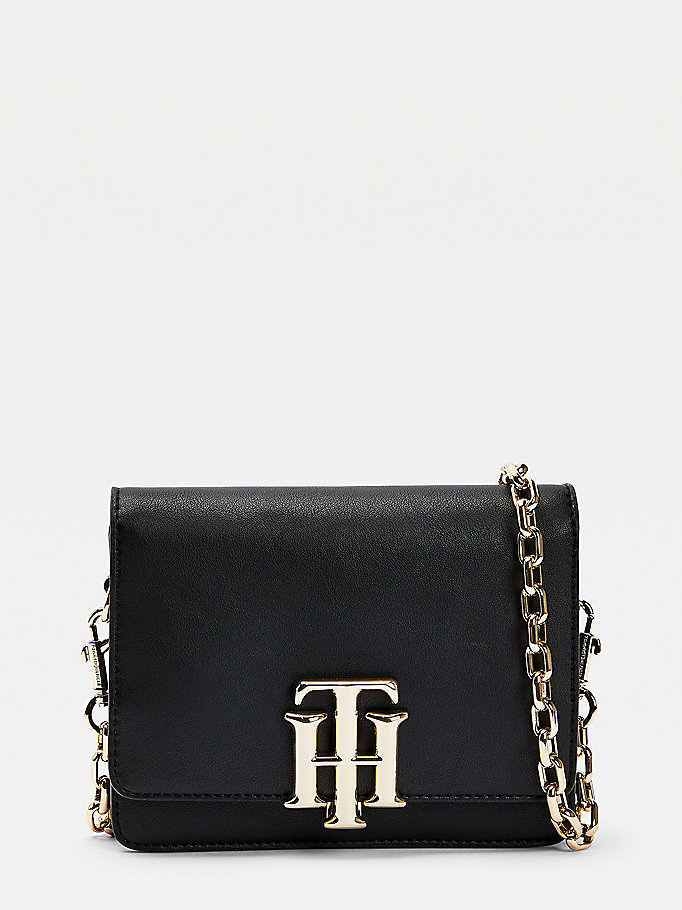 black monogram lock small crossover bag for women tommy hilfiger