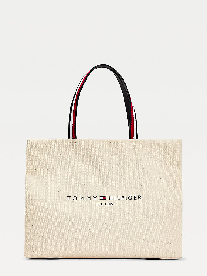 beige organic cotton canvas tote bag for women tommy hilfiger