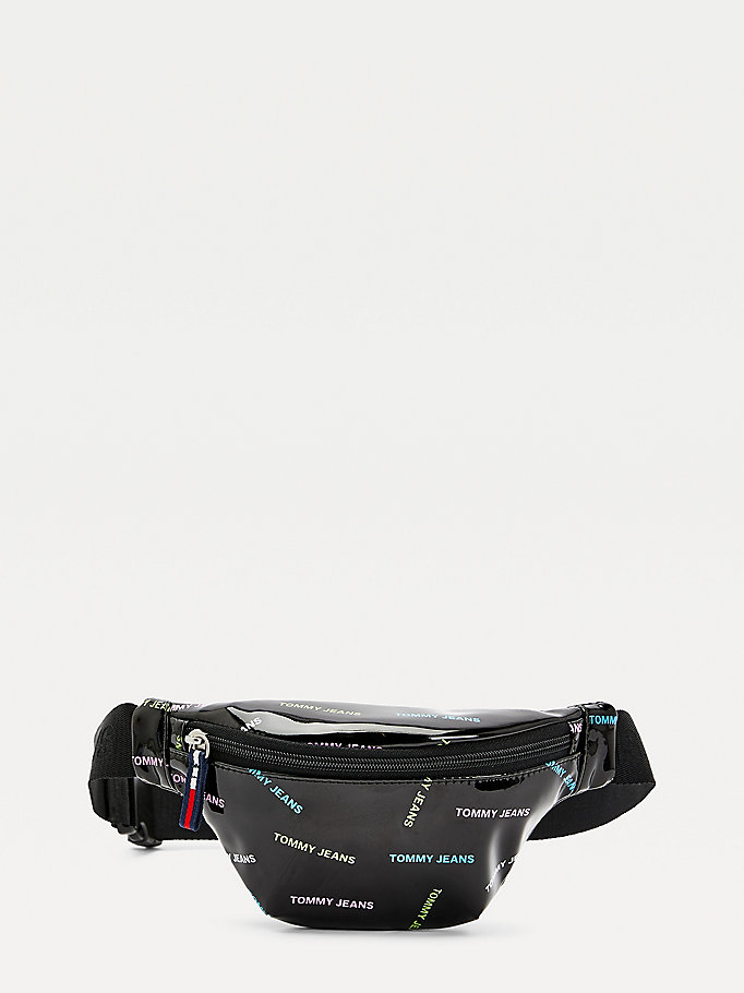 black campus logo vinyl bumbag for women tommy jeans
