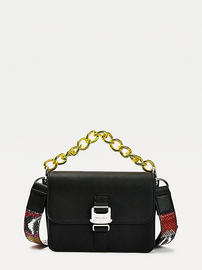 black tommy jeans item flap crossover bag for women tommy jeans