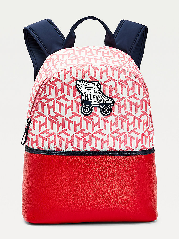 red kids' roller skate logo backpack for girls tommy hilfiger
