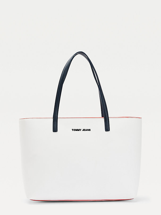 blue contrast trim tote for women tommy jeans