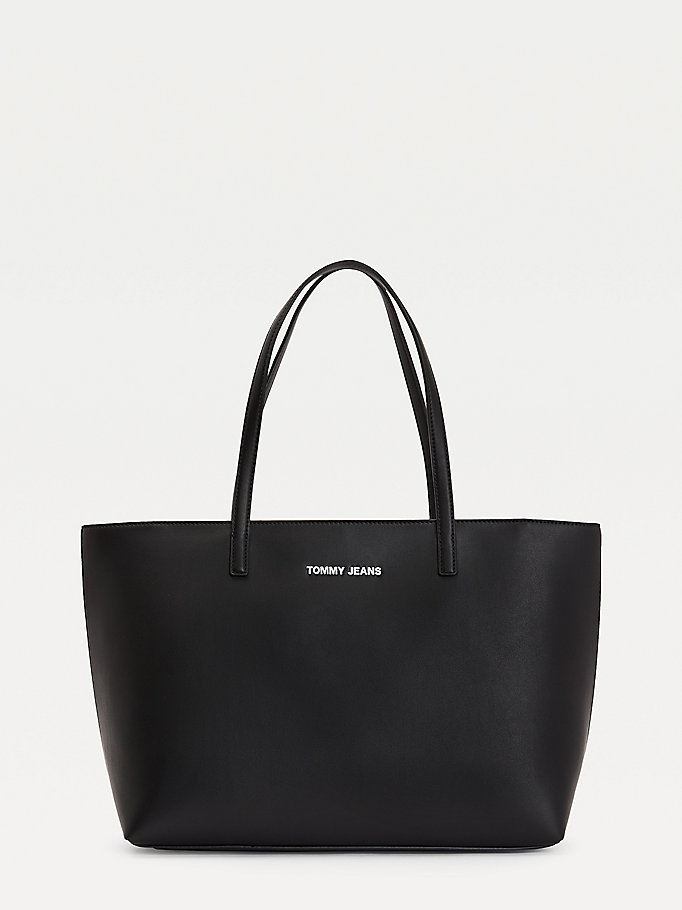 black contrast trim tote for women tommy jeans