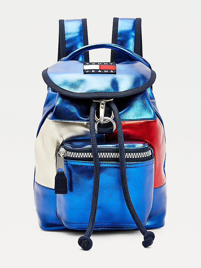 blue metallic backpack for women tommy jeans