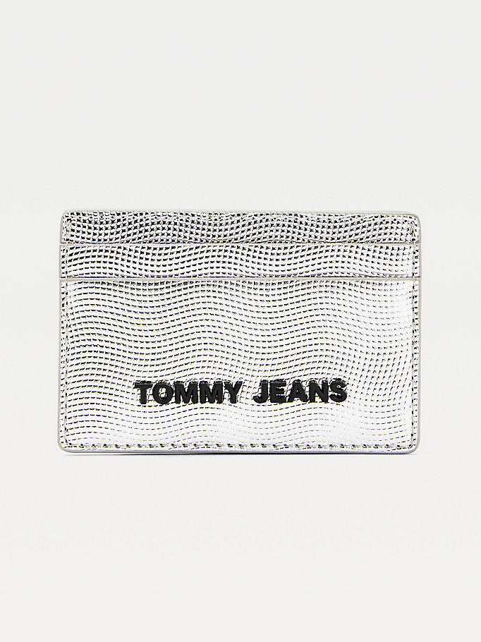 grey essential metallic card holder for women tommy jeans