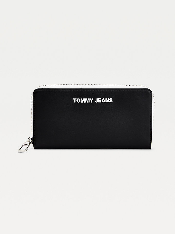 black essential large wallet for women tommy jeans