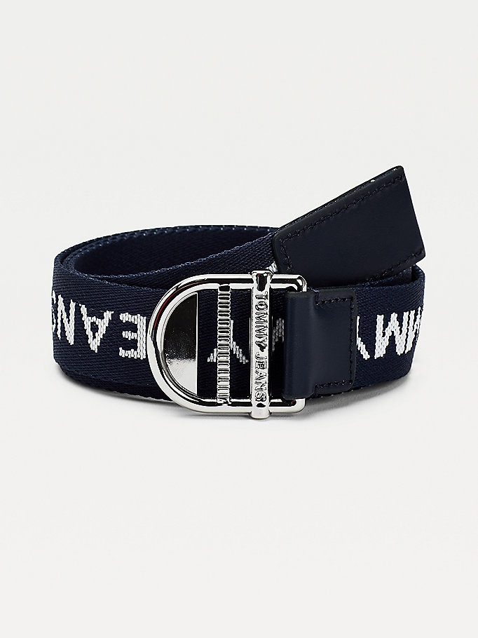 blue essential webbing belt for women tommy jeans