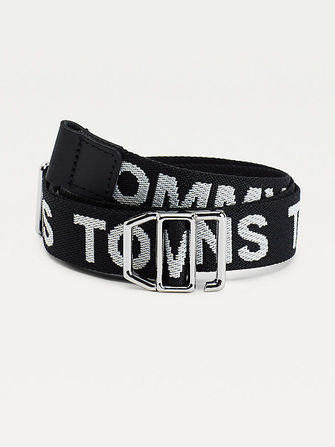 black contrast repeat logo webbing belt for women tommy jeans