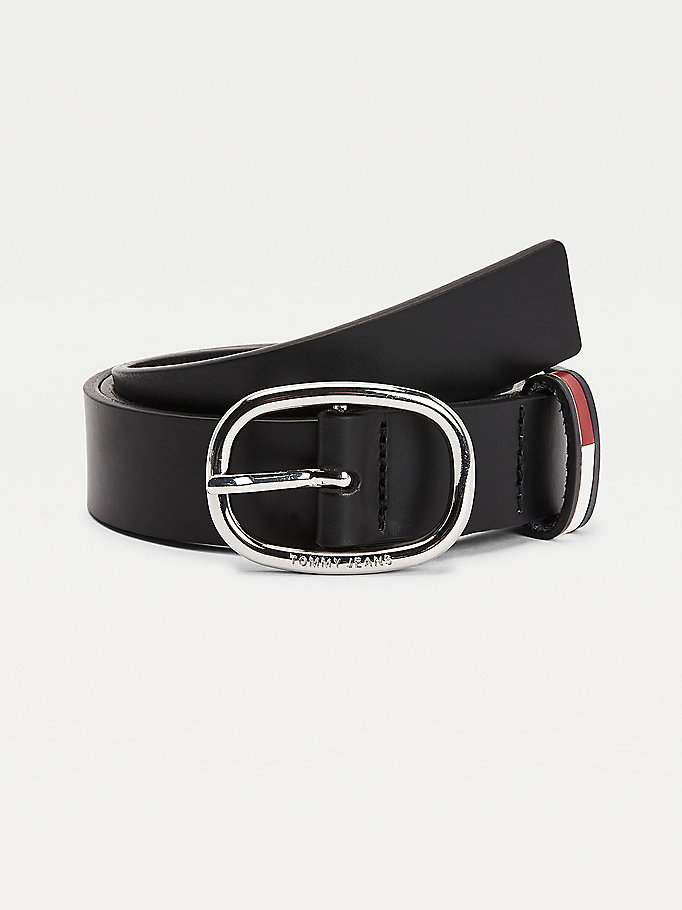black casual leather oval buckle belt for women tommy jeans