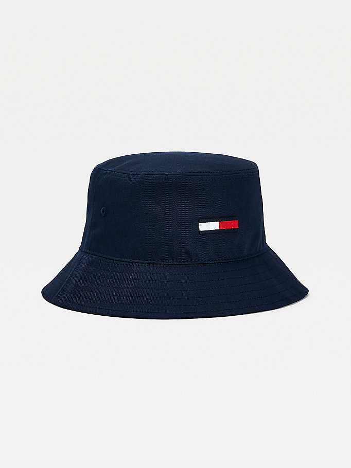 blue flag embroidery organic cotton bucket hat for women tommy jeans