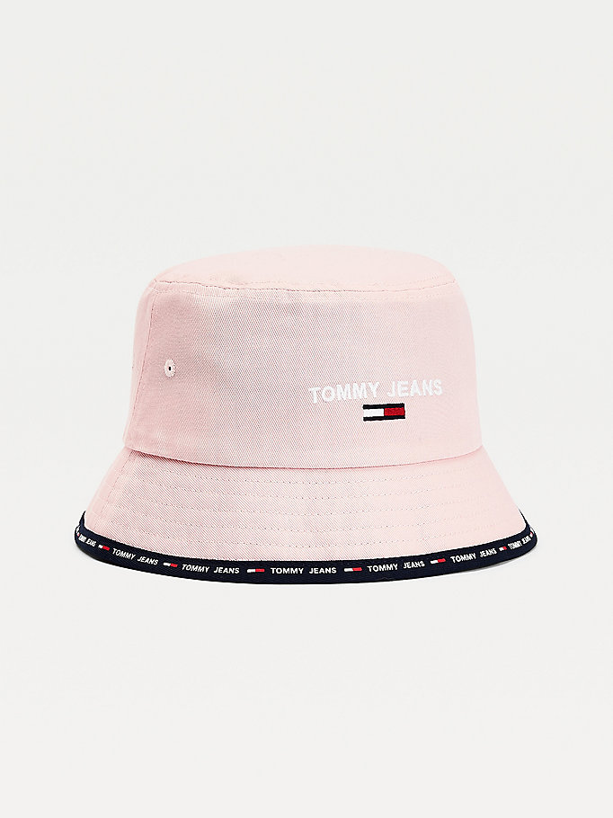 pink logo brim bucket hat for women tommy jeans