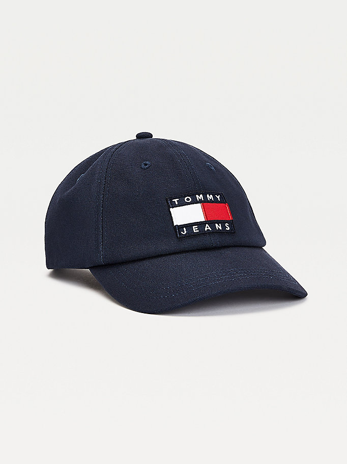 blue colour-blocked baseball cap for women tommy jeans