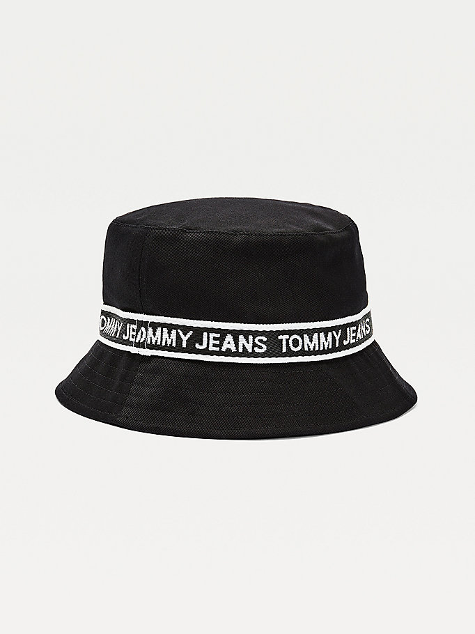 black repeat logo tape bucket hat for women tommy jeans