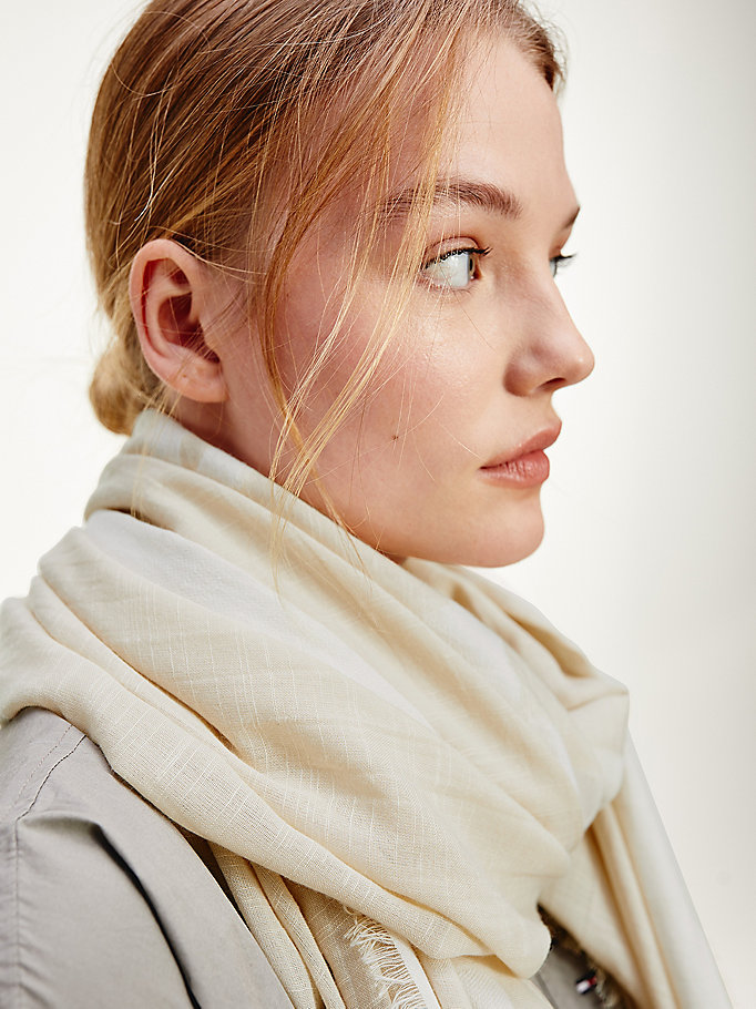beige signature scarf for women tommy hilfiger