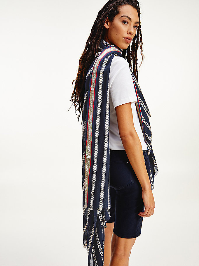 blue selvedge chain scarf for women tommy hilfiger