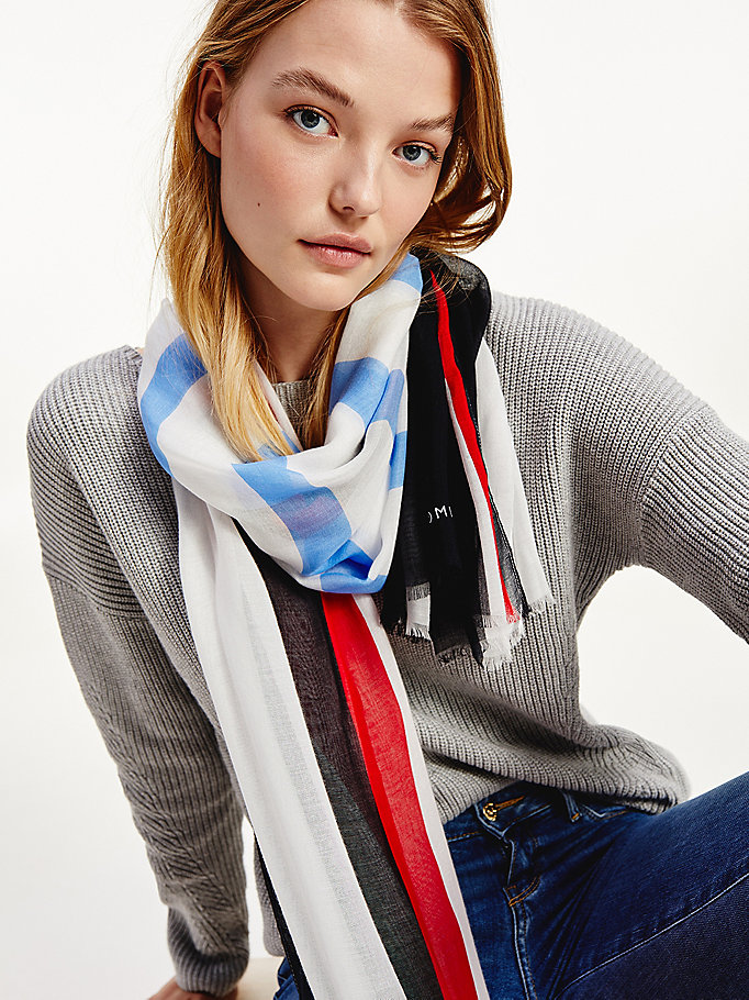 blue mixed striped scarf for women tommy hilfiger