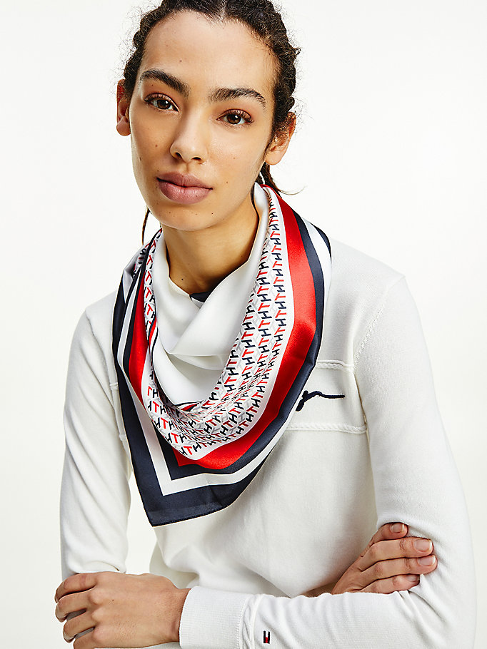 blue th monogram satin scarf for women tommy hilfiger