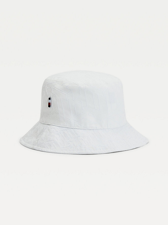white monogram organic cotton bucket hat for women tommy hilfiger