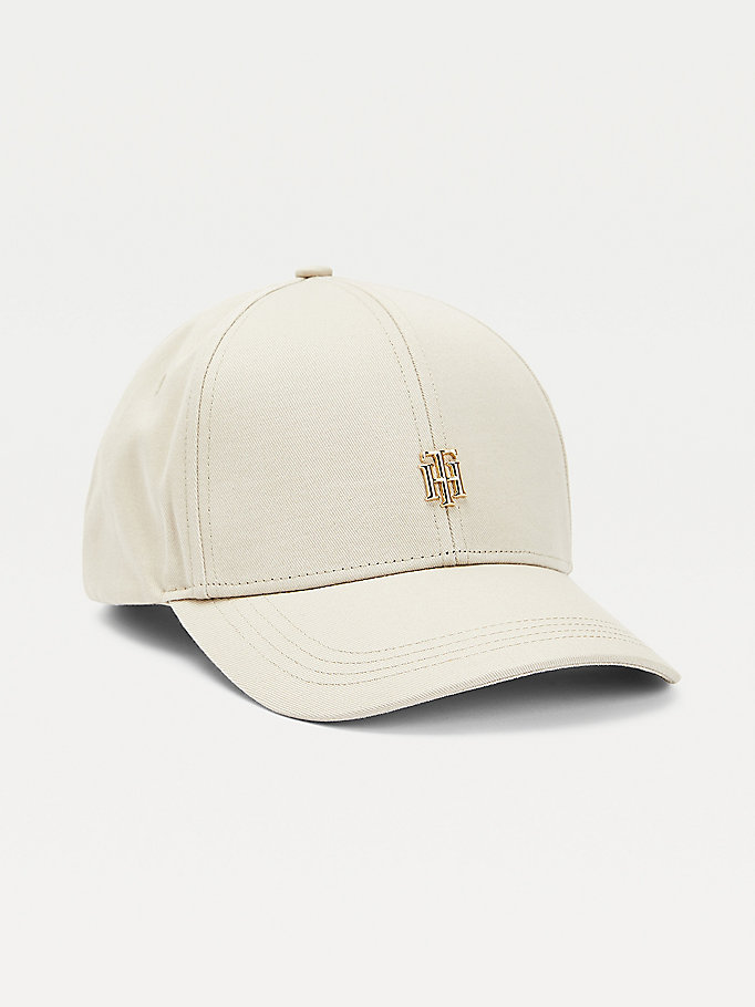 beige organic cotton monogram baseball cap for women tommy hilfiger