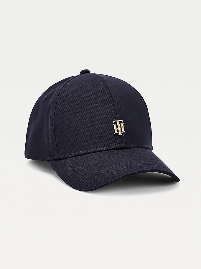 blue organic cotton monogram baseball cap for women tommy hilfiger