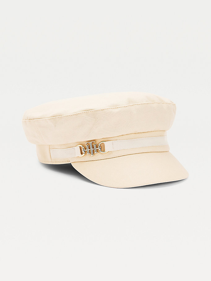 beige monogram baker boy hat for women tommy hilfiger