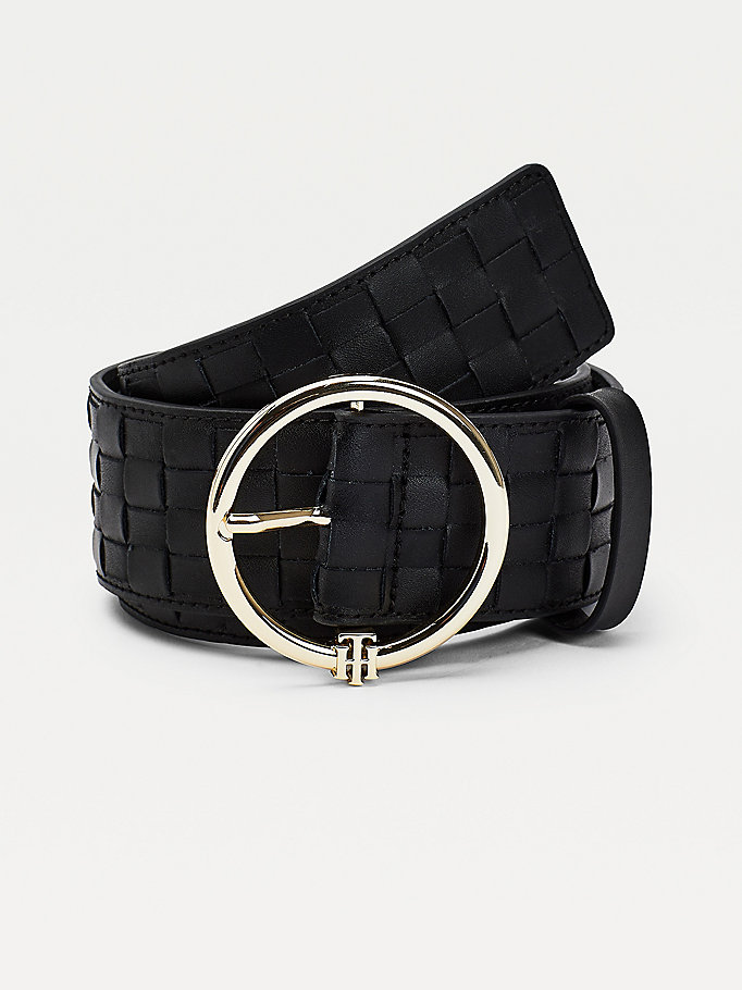 black woven leather monogram wide belt for women tommy hilfiger