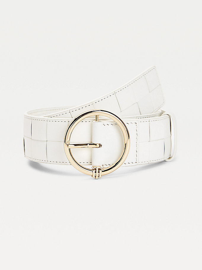 white woven leather monogram wide belt for women tommy hilfiger