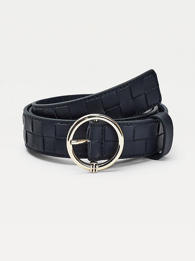 blue woven leather monogram belt for women tommy hilfiger
