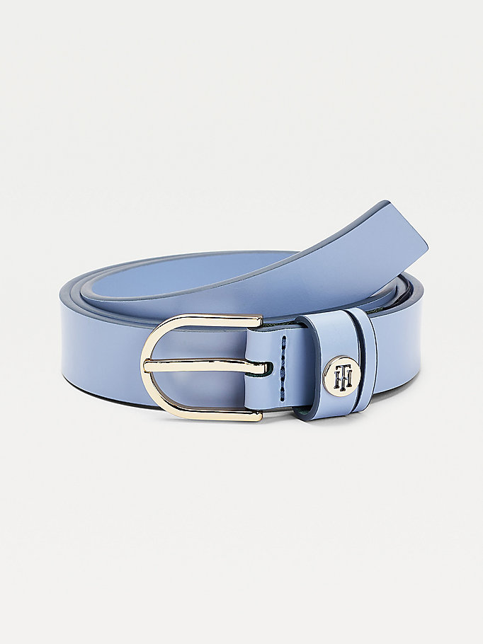 blue monogram keeper slim leather belt for women tommy hilfiger