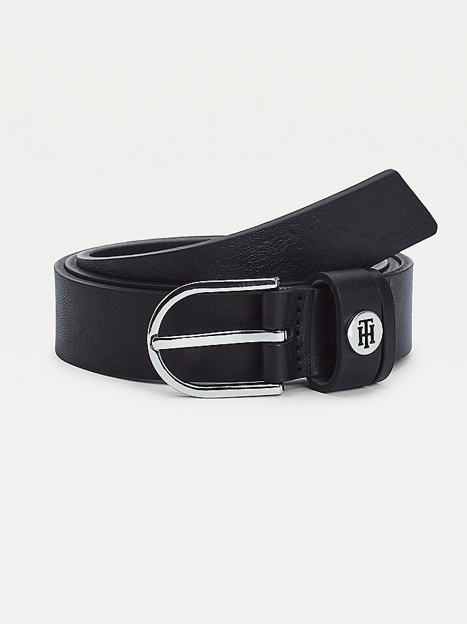 black monogram keeper slim leather belt for women tommy hilfiger