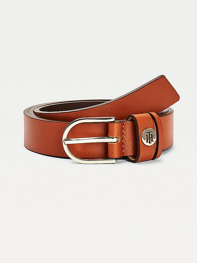 brown monogram keeper slim leather belt for women tommy hilfiger