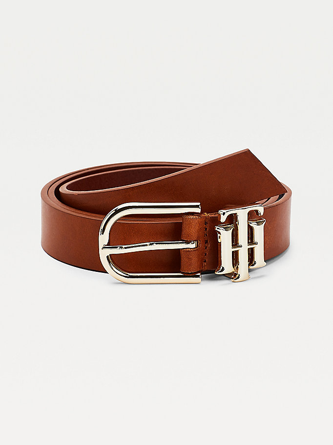 brown monogram keeper leather belt for women tommy hilfiger