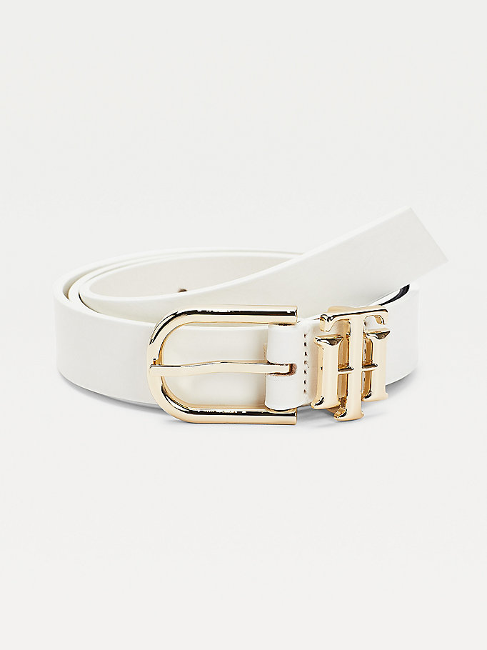 white monogram keeper leather belt for women tommy hilfiger