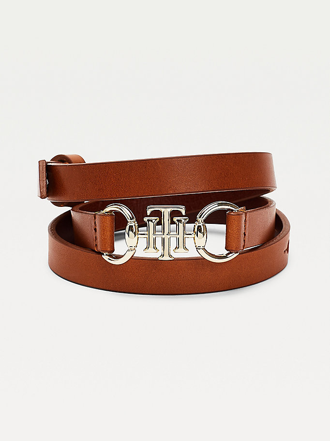 brown slim leather horsebit belt for women tommy hilfiger