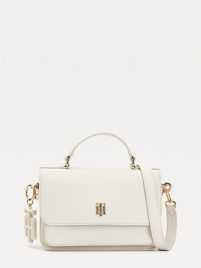 beige monogram medium crossover bag for women tommy hilfiger