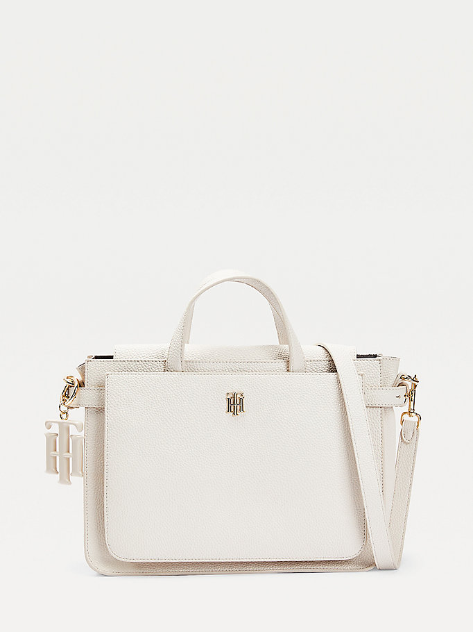 beige monogram charm satchel for women tommy hilfiger