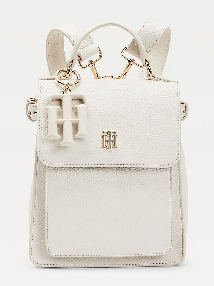 beige monogram charm backpack for women tommy hilfiger