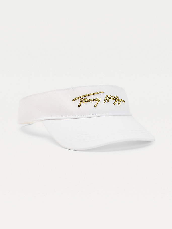 white metallic signature logo visor for women tommy hilfiger