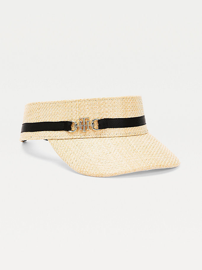 beige woven visor for women tommy hilfiger