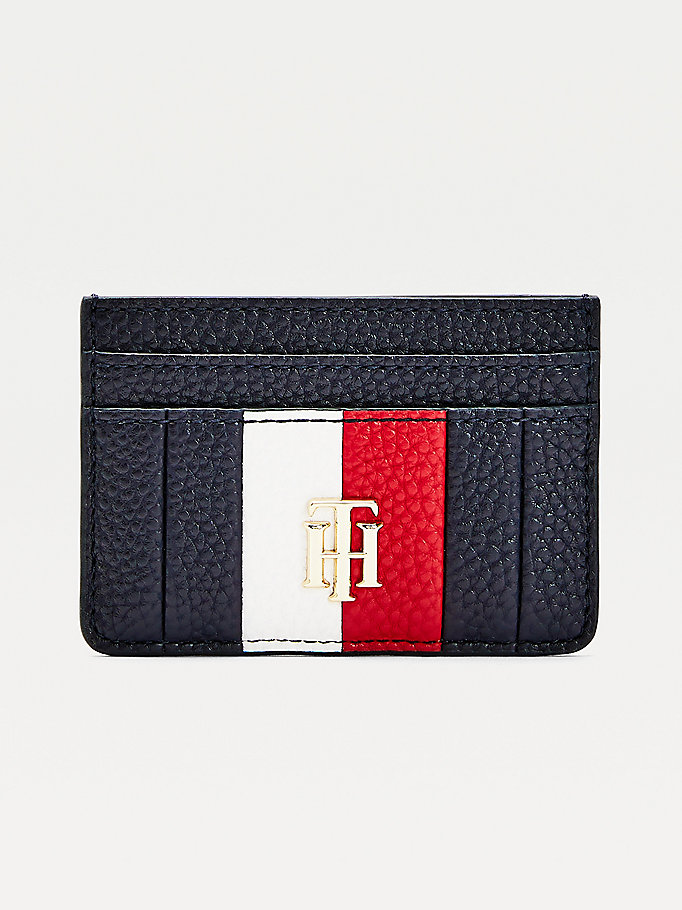 blue th essence signature card holder for women tommy hilfiger