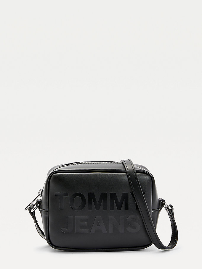 black tonal logo camera bag for women tommy jeans