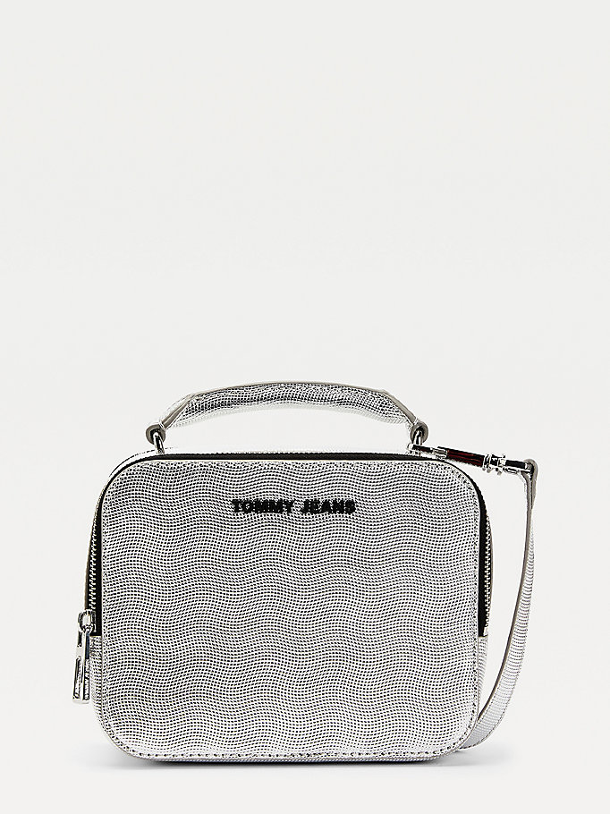 grey metallic zipped crossover bag for women tommy jeans