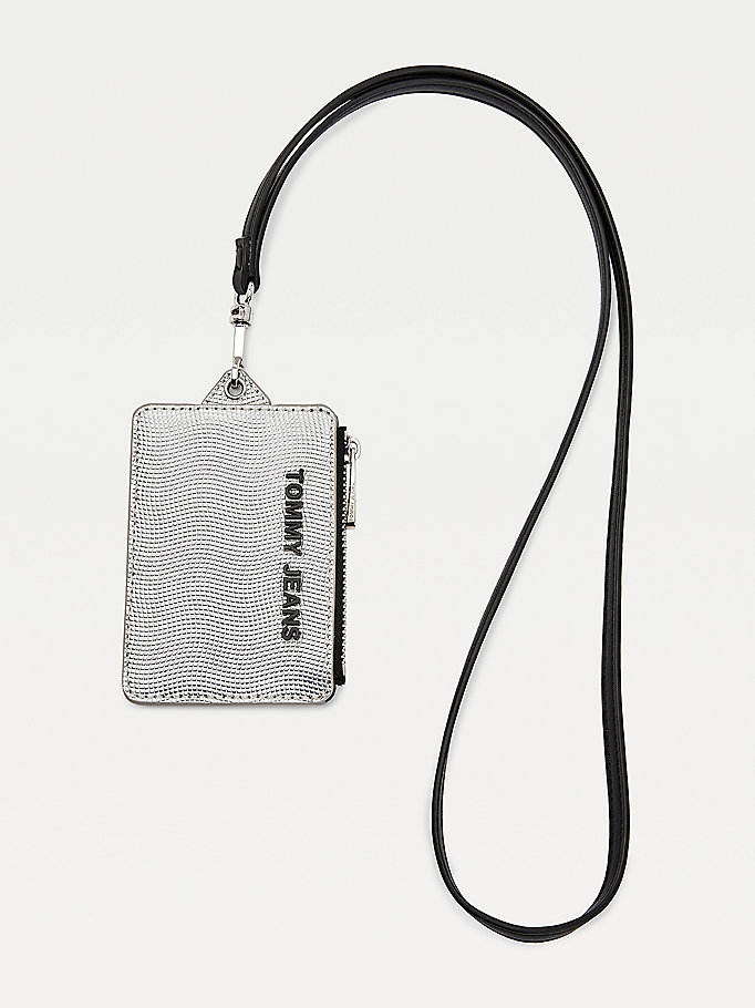 grey essential metallic hanging card holder for women tommy jeans